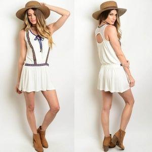Dresses & Skirts - Boho Embroidered Dress Festival Beach Lace Ivory